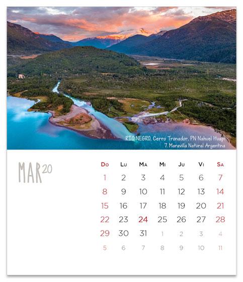 Marzo 2020 Calendario Argentina.Argentina 2020 Calendario 7 Maravillas Naturales Base De